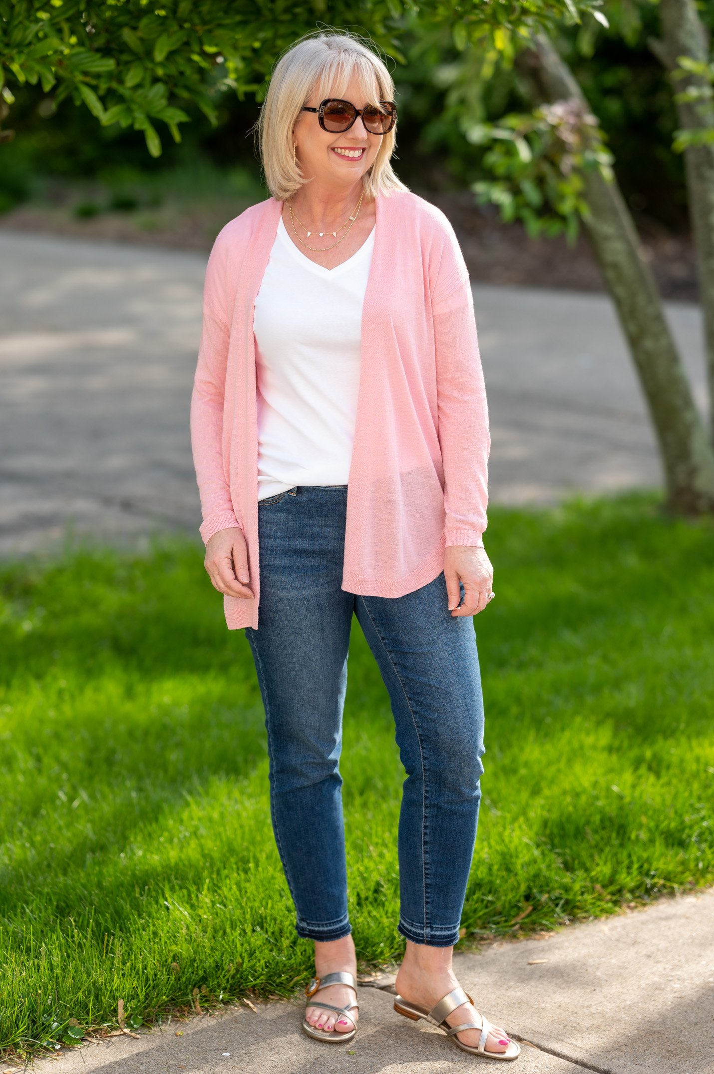 White T-Shirt with Ankle Jeans and Cardigan
