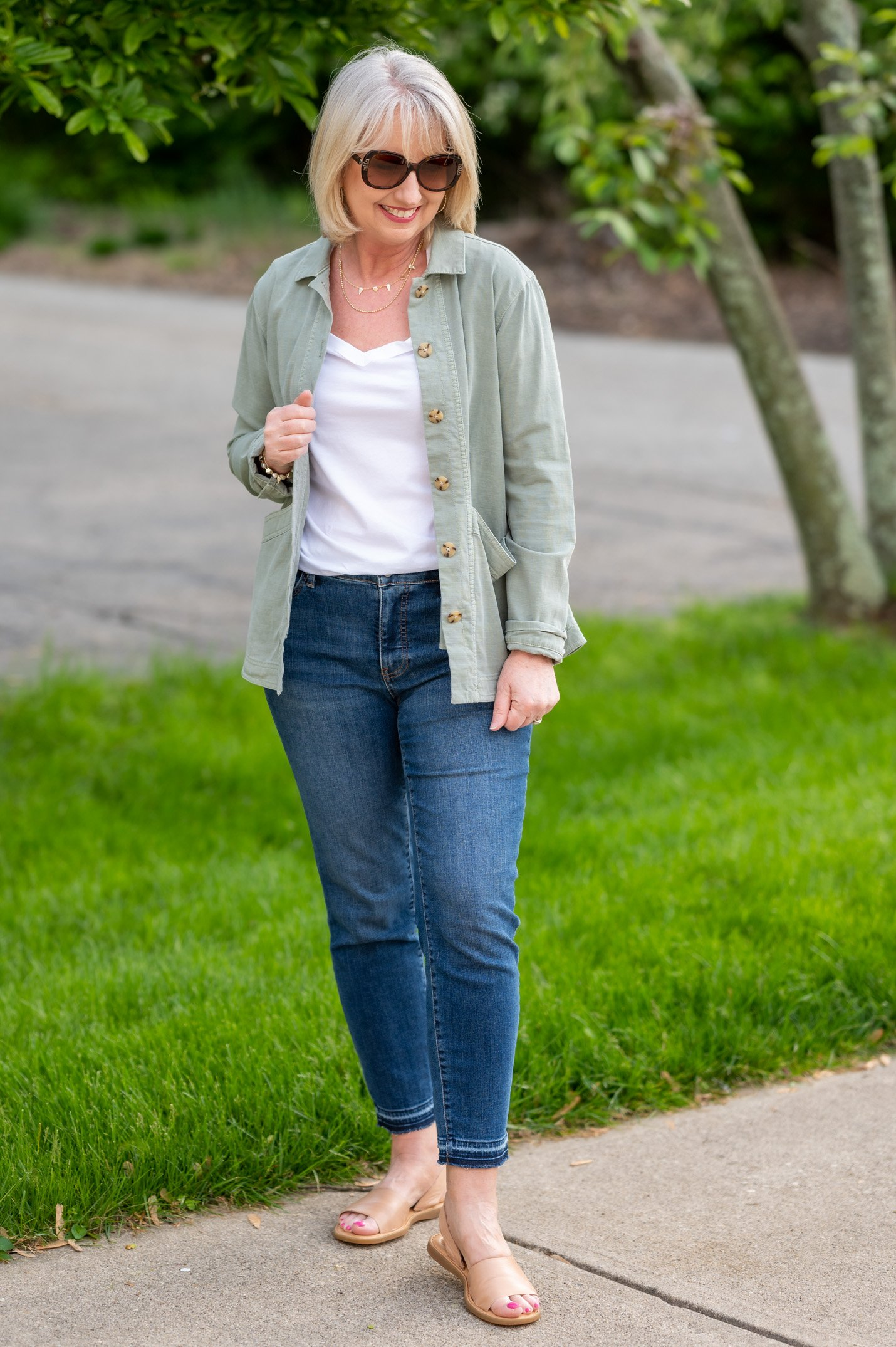 White T-Shirt with Ankle Jeans & Field Jacket