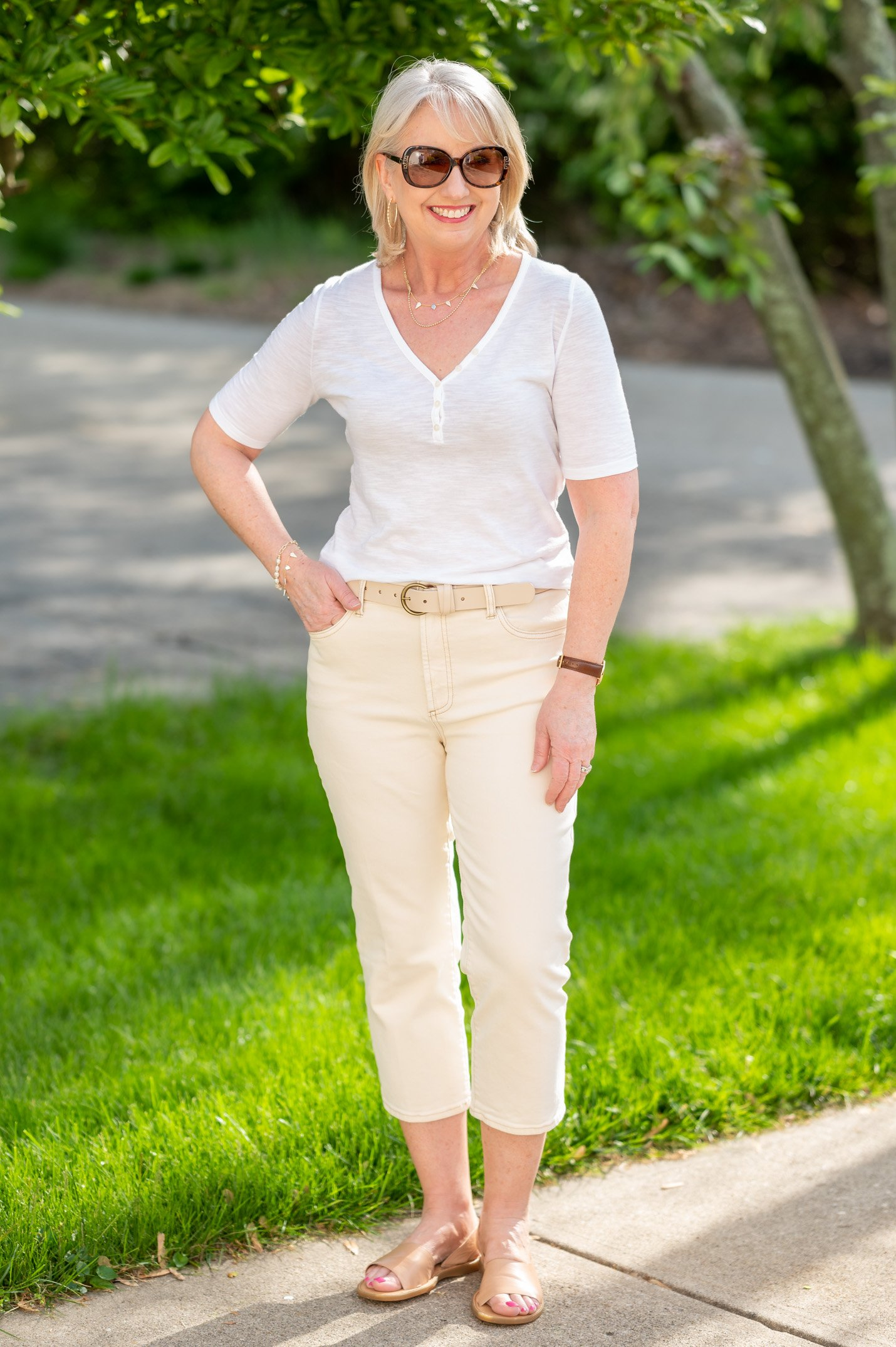 White Tee Belted with Cream Crop Pants