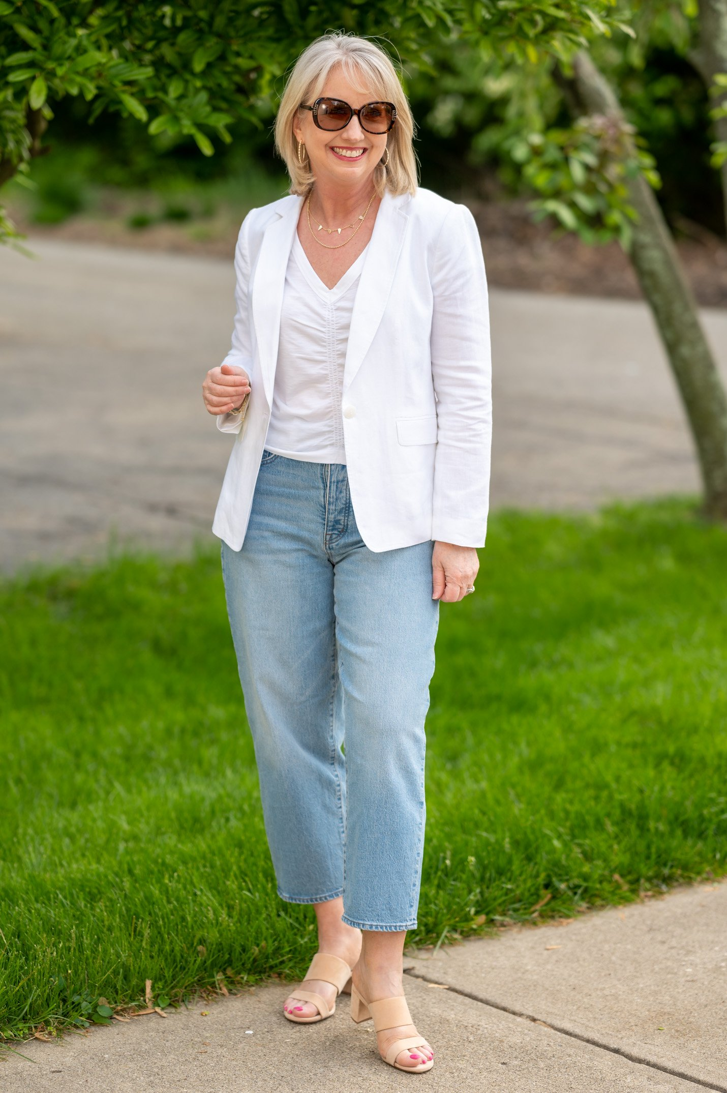 White Cinched Front Tee with Modern Jeans & White Blazer