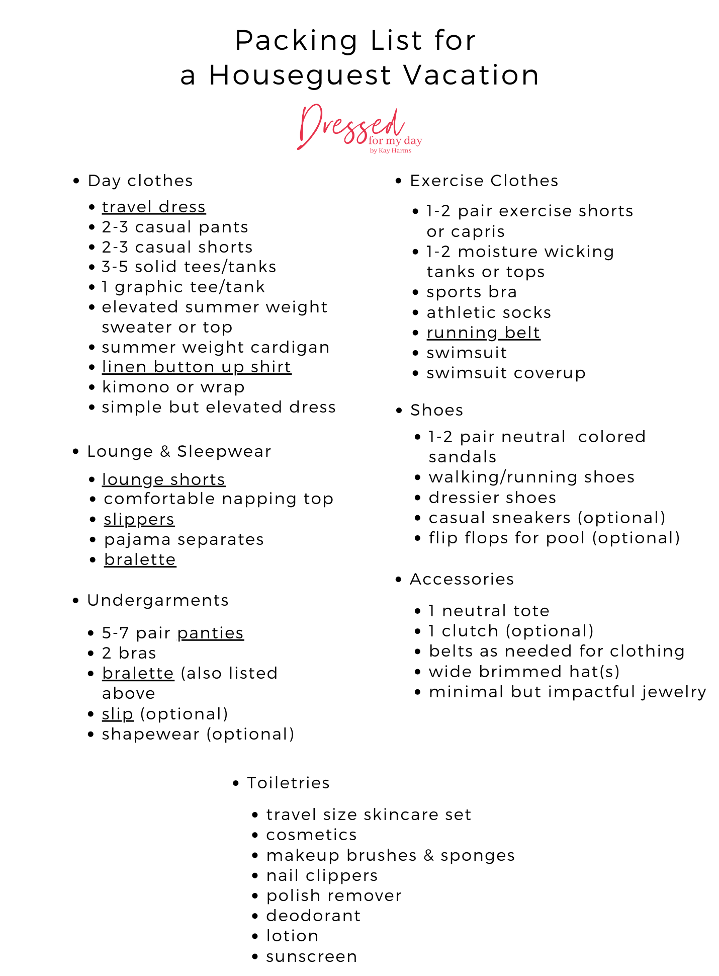 Packing List for a Houseguest Vacation