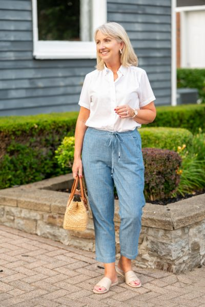 Chambray tie-waist pants for summer