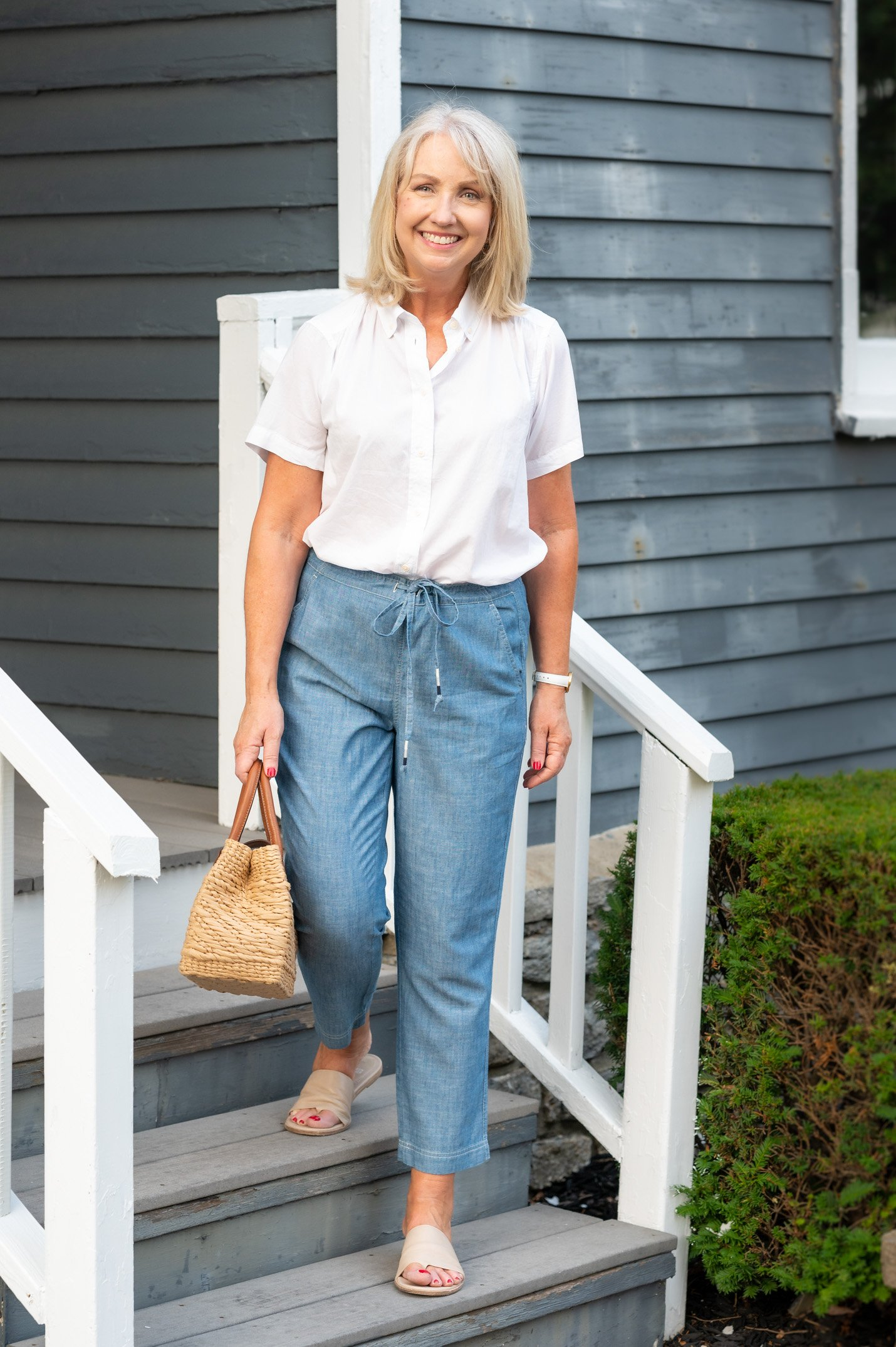 Chambray Pants and White Poplin Shirt for Summer