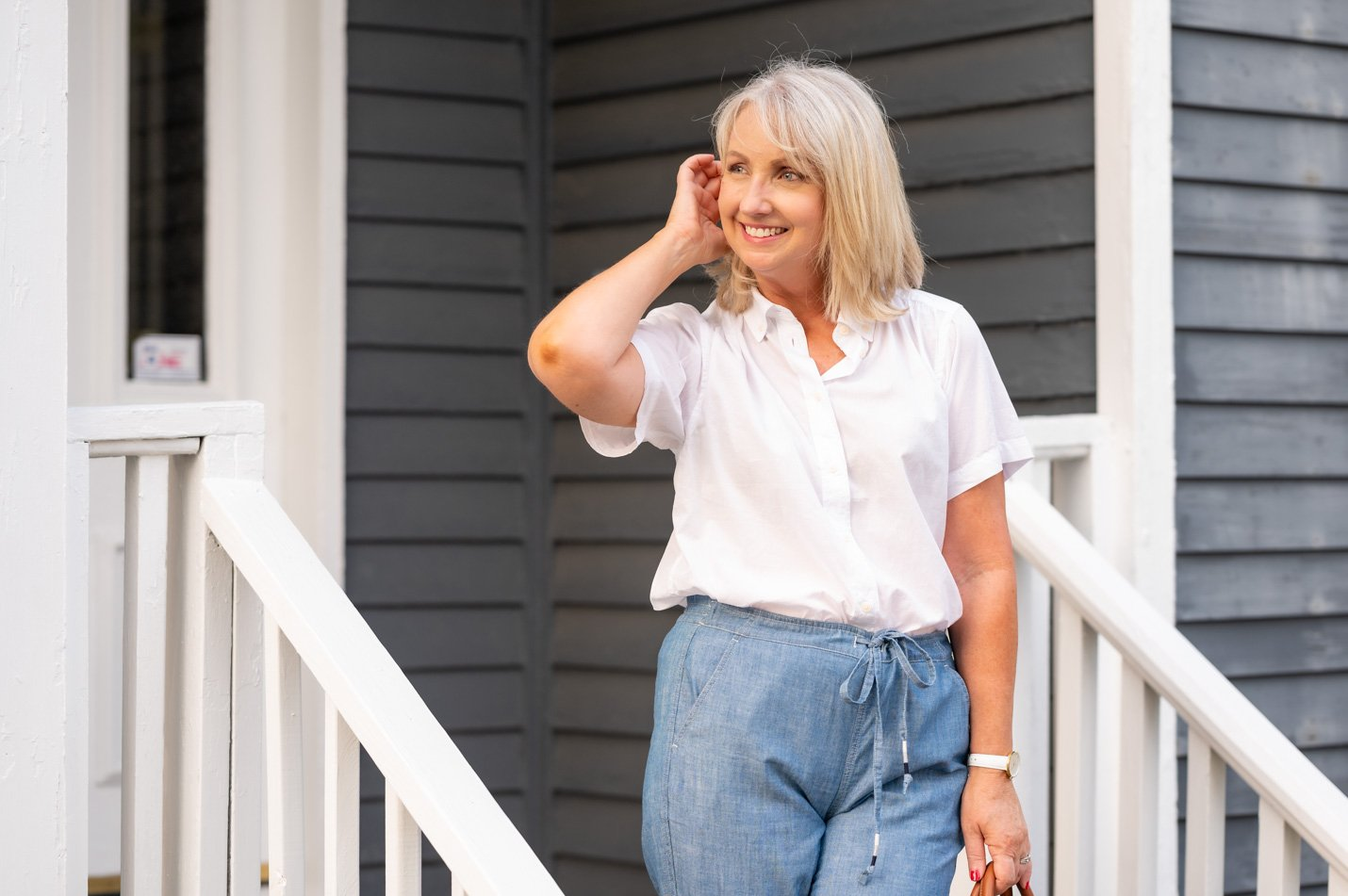 White Shirt and Chambray Pants for Summer