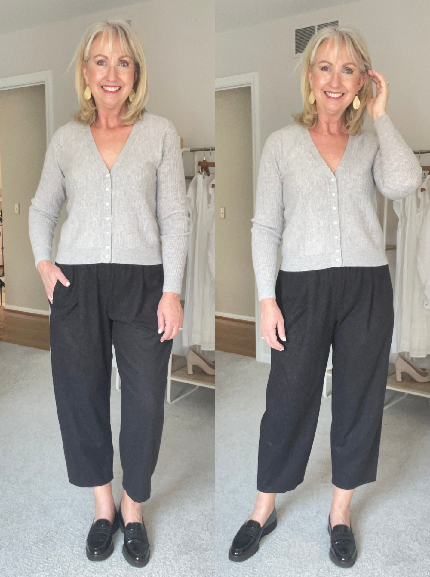 Eileen Fisher Lantern Pants and Grey Cardigan
