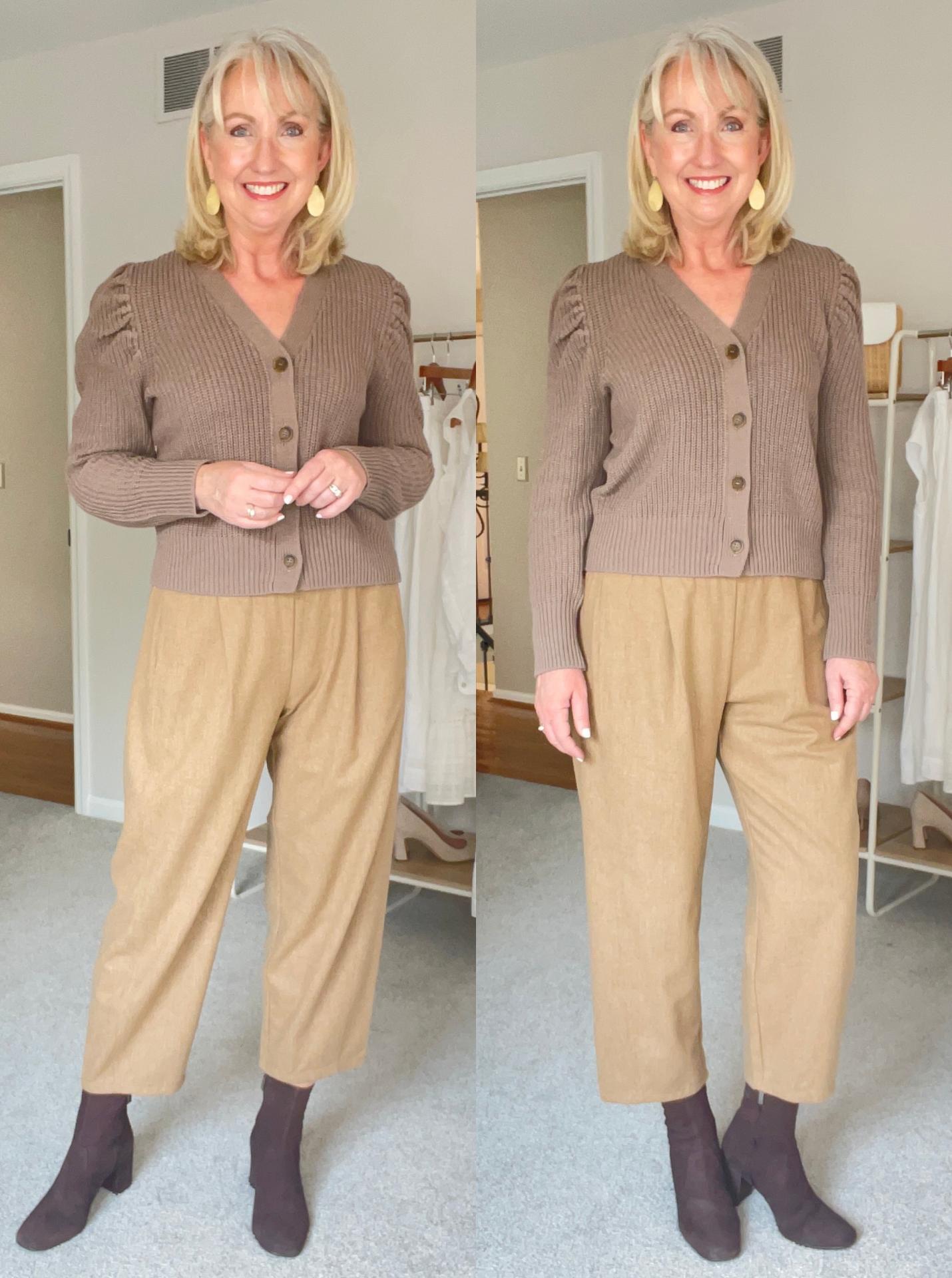 Eileen Fisher Lantern Pants button cardigan