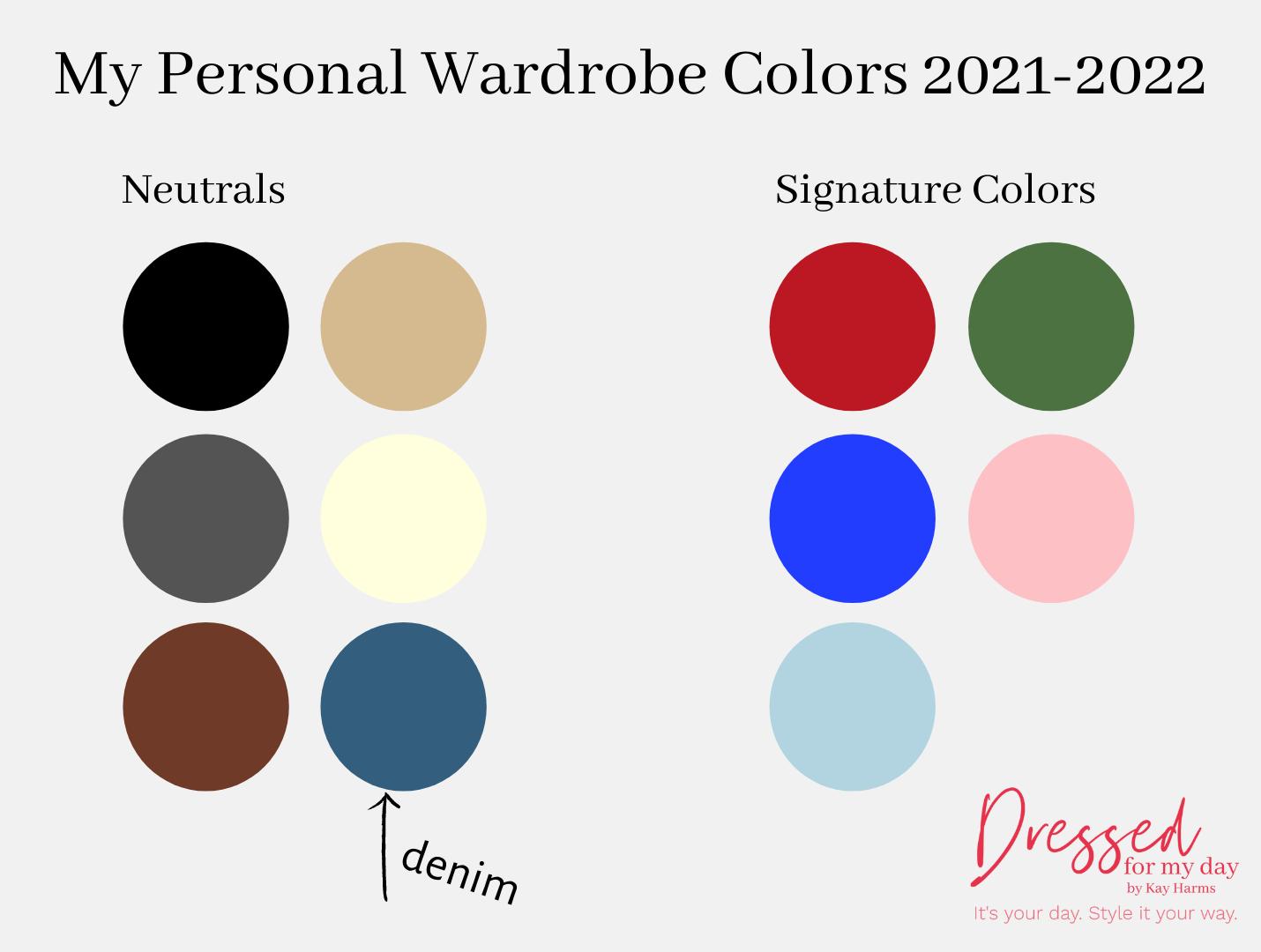 My Personal Wardrobe Colors 2021-2022