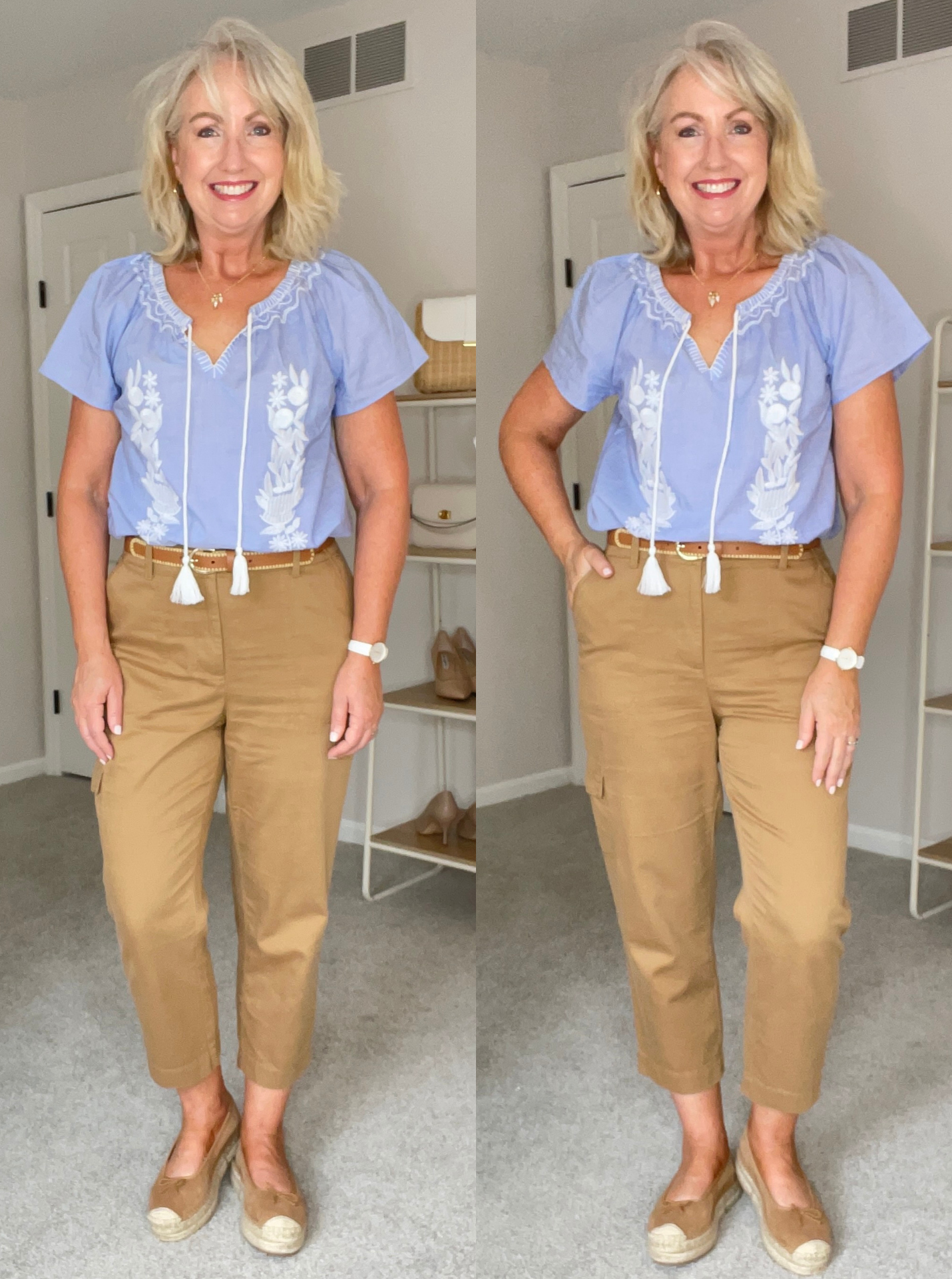 cargo crop chinos with blue embroidery shirt