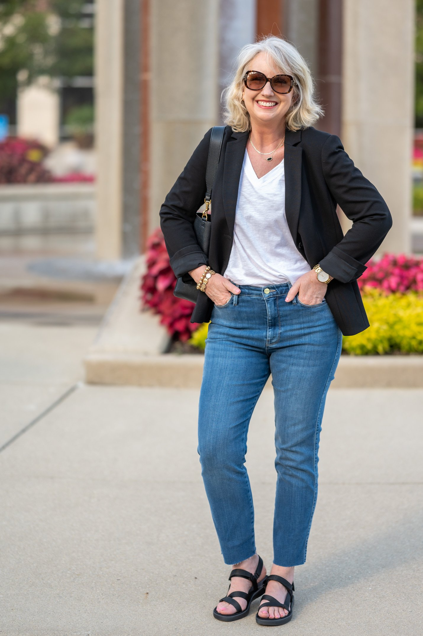Suit Blazer with a Tee and Jeans
