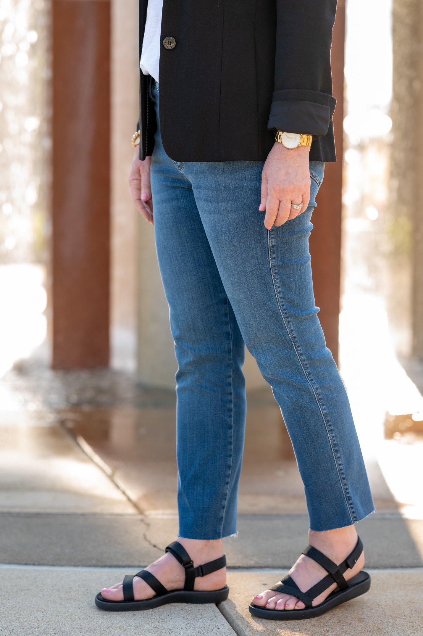 Straight Leg Jeans with Sport Sandals