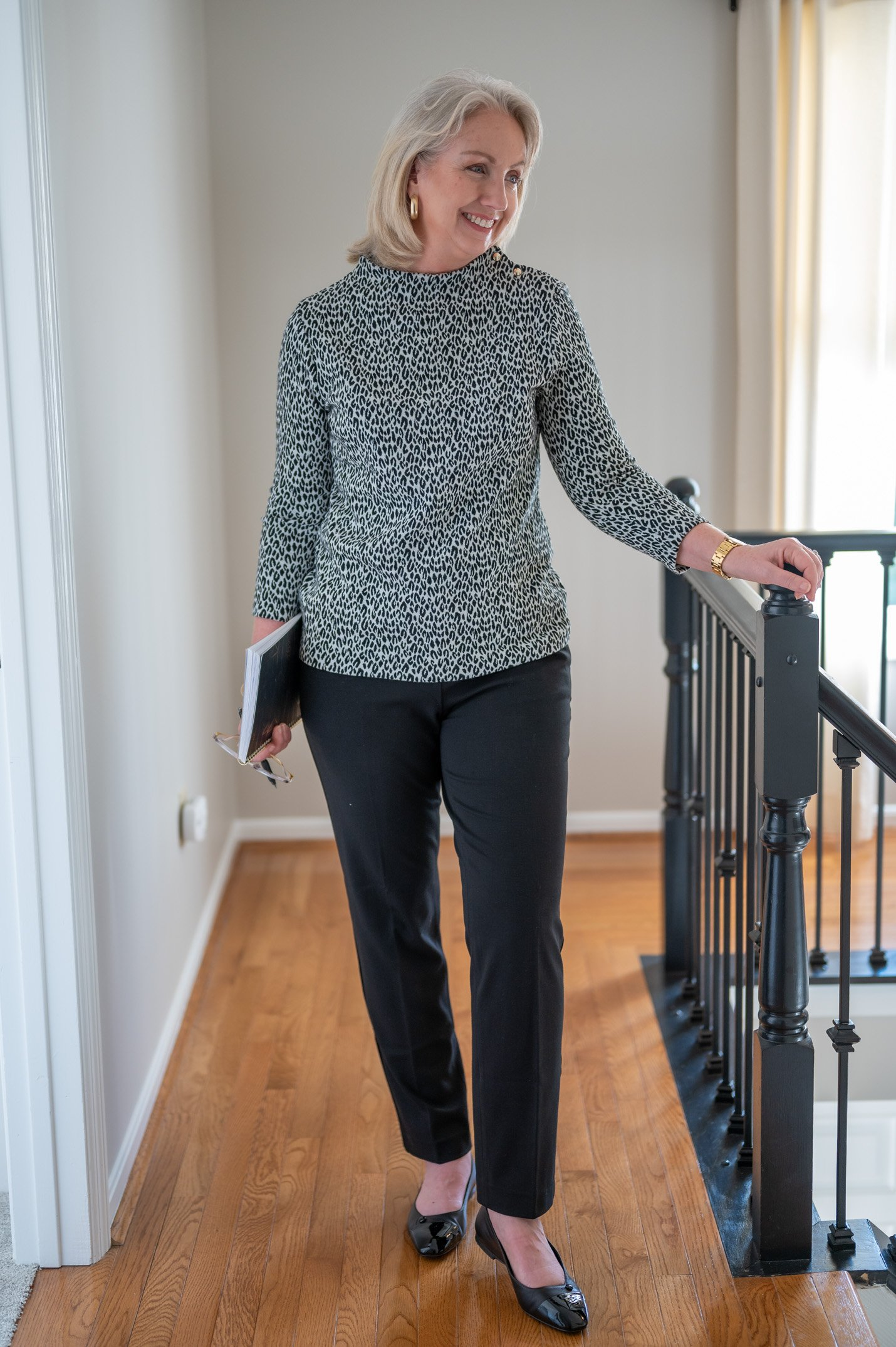 Fall Work Outfit with a Tunnel Neck Pullover