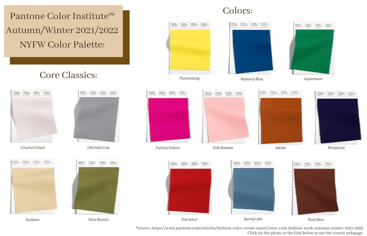 Pantone Color Institute Trending Colors for Fall 2021