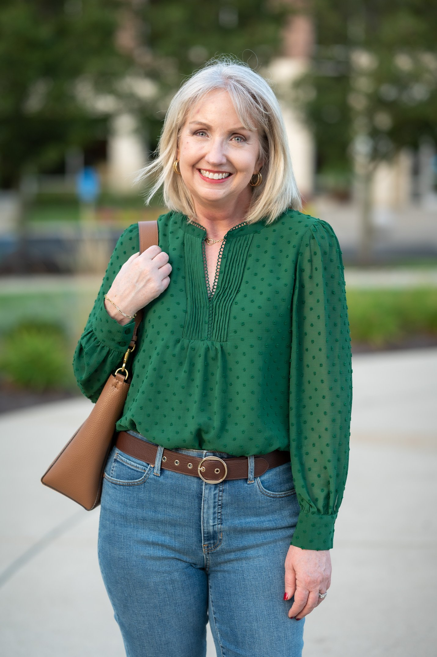 Clip Dot Blouse for a Elevated Casual Fall Outfit