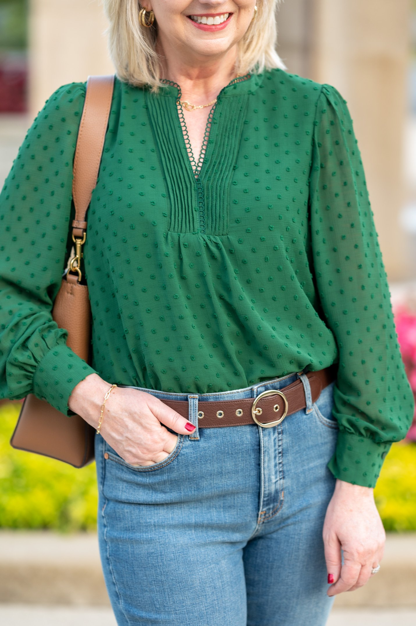 Clip Dot Long Sleeve Blouse