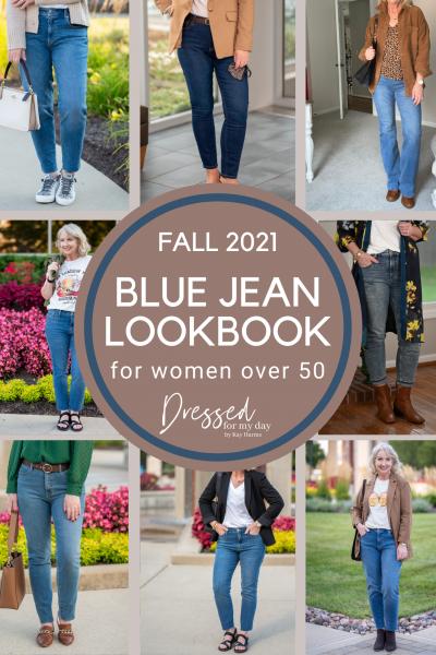 Fall 2021 Blue Jean Lookbook for Women over 50