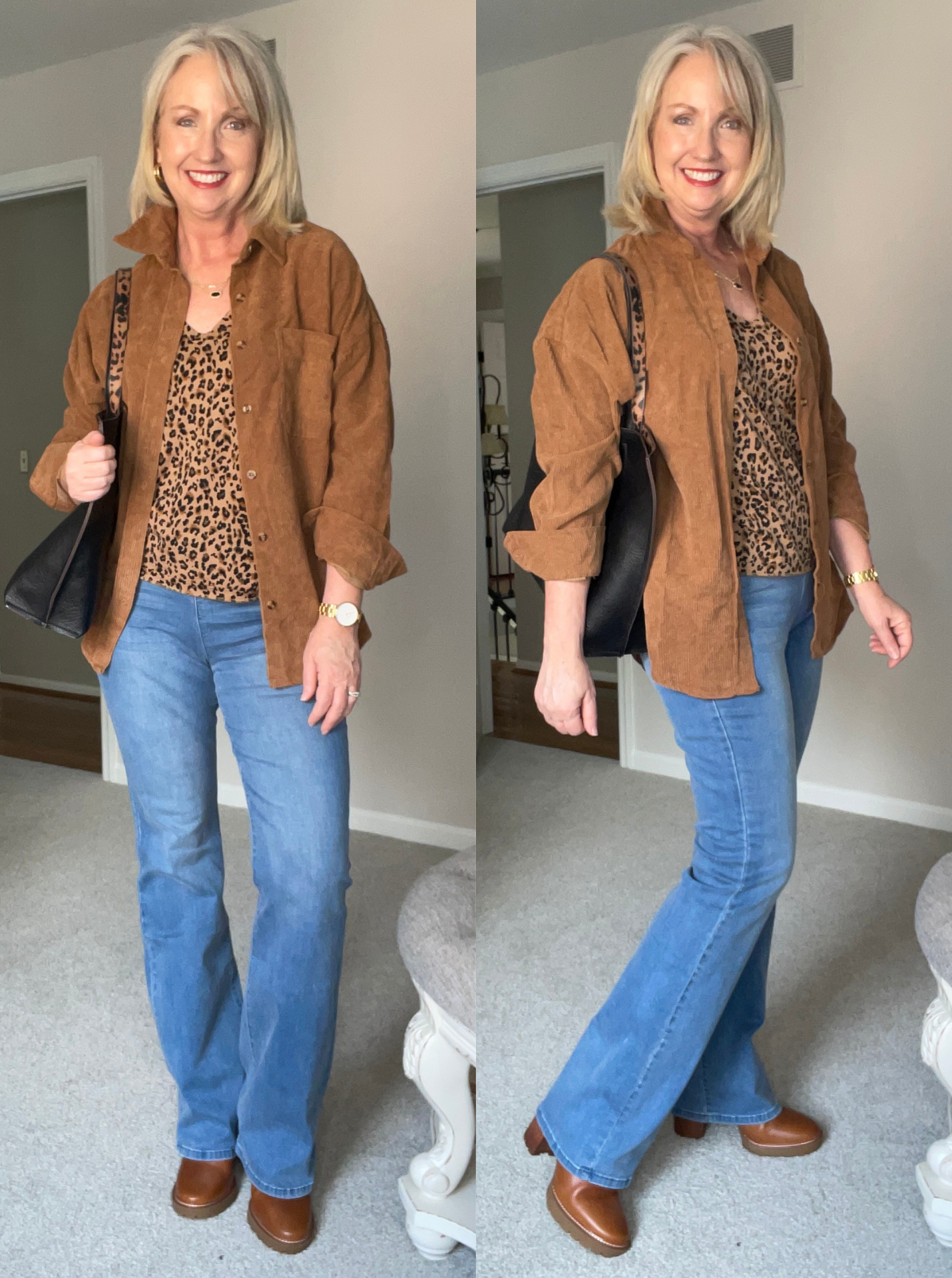 Wear a Shirt Jacket with bootcut jeans and a tee