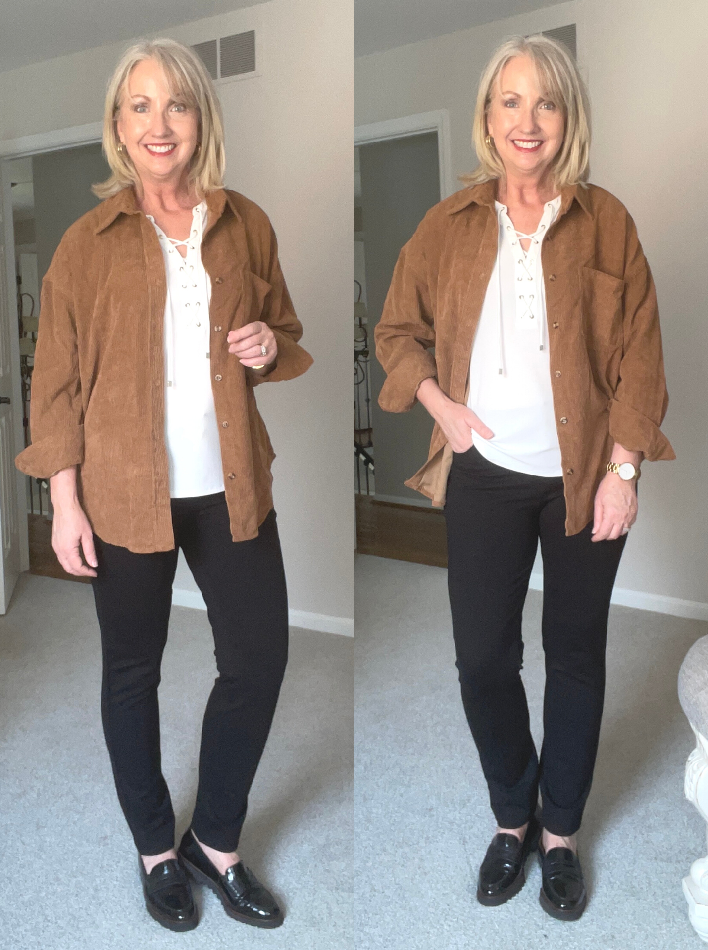 Wear a Shirt Jacket with ponte knit pants